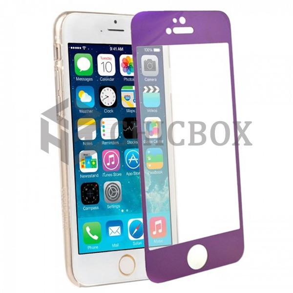 iPhone 6 Colored Tempered Glass Screen Protector _Purple
