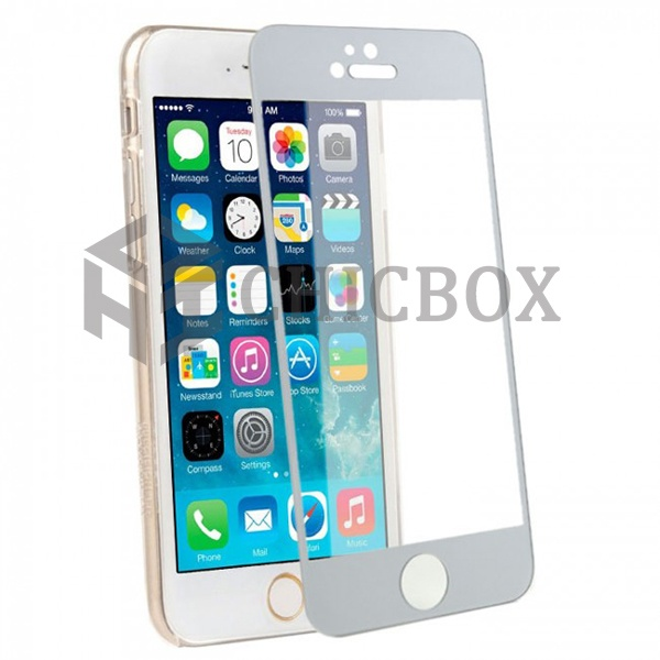 iPhone 6 Colored Tempered Glass Screen Protector _Silver