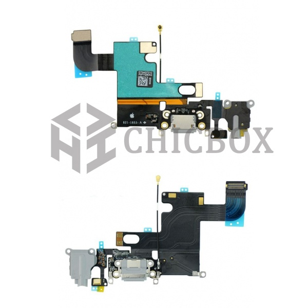 Dock Connector Charging Port Flex Cable Replacement for iPhone 6_Dark Grey