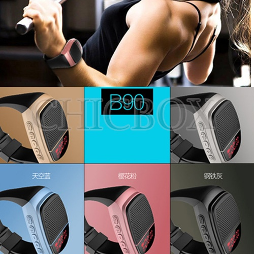 B90 Alarm Bluetooth Speaker Sports digital-Watch Portable Mini MP3 Music Bluetooth Watch Speakers FM