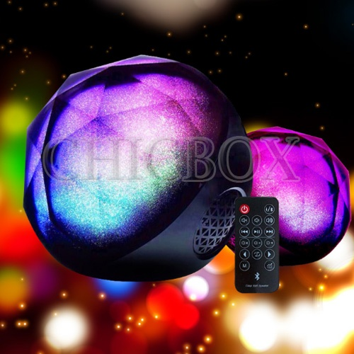 Bluetooth Speaker color LED Light Magic Crystal Ball Speaker with Remote Control
