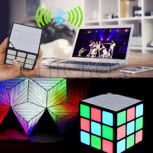 Magic Cube Design Colorful 36 LED Flash Bluetooth Mini Speaker Wireless Portable Super Bass Sound Su