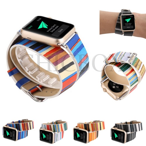 Rainbow Stripe Double Tour Bracelet Watchband For Apple iWatch 38mm_42mm_with retail package