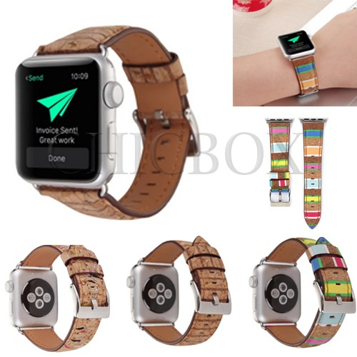 New Retro Wood grain Leather Watch Band Strap For Apple Watch iWatch 38_42mm_with retail package