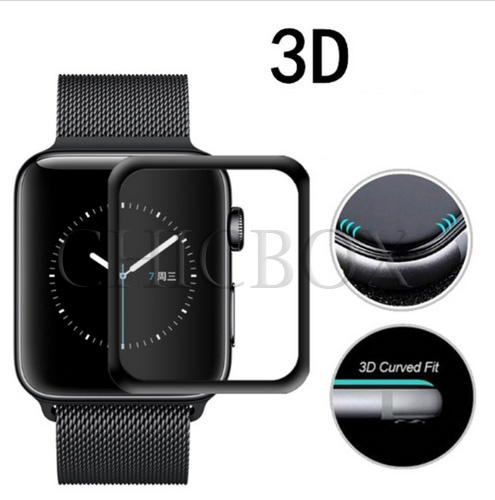 3D Curved Full Coverage Tempered Glass For Apple Watch 38mm 42mm_with retail package