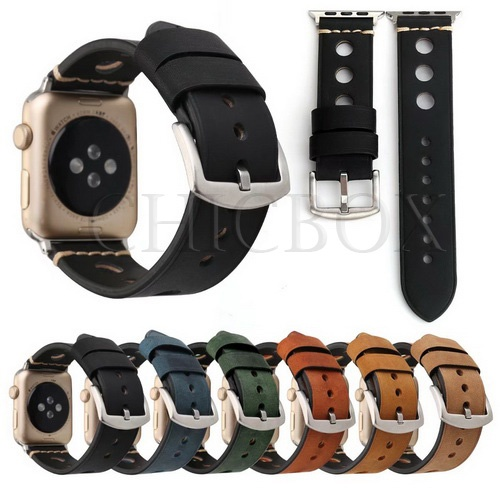 New Retro Genuine Leather Hole Watch Band Strap For Apple Watch 38_42mm_with retail package