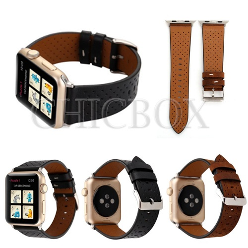 New Retro Genuine Leather Mesh Watch Band Strap For Apple Watch 38_42mm_ with retail package
