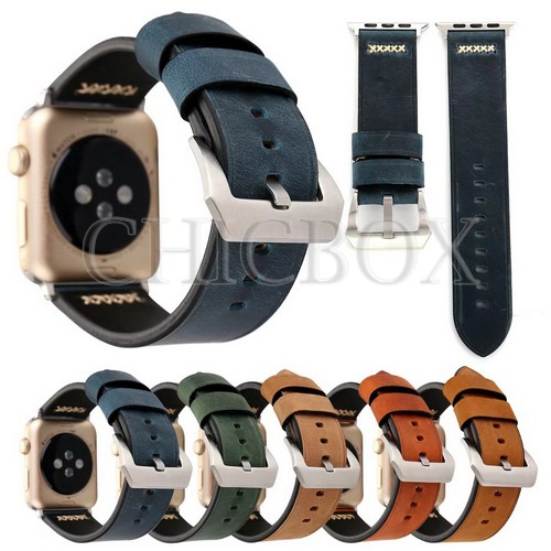 New Retro Genuine Leather Handmade Watch Band Strap For Apple Watch 38_42mm_with retail package