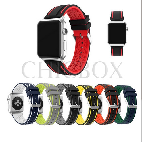 8mm Contrast Colors Silicone Wrist Sport Bracelet Strap For Apple Watch iwatch 38_42mm_with retail p