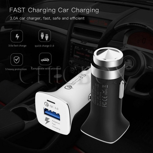 Portable QC3_0 Quick Charge With USB Fast Car Charger Adapter Safety Hammer New