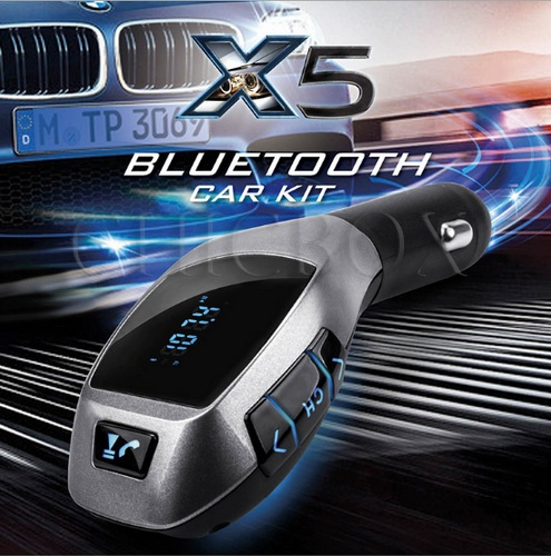X5 Shape Bluetooth Handsfree Calling Car Charger USB TF MP3 Play FM Transmitter