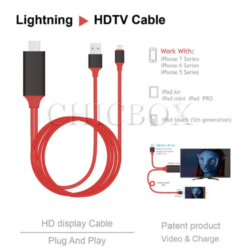 2m length Lightning 8 pin to HDMI cable for iPhone_iPad_iPod